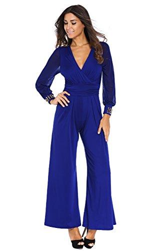 Jumpsuit Damen Lang - Elegant Brautkleider für Braut oder Zeremonie - Abendkleider Moderne Disco Fashion Abendball oder Party, Blau XL