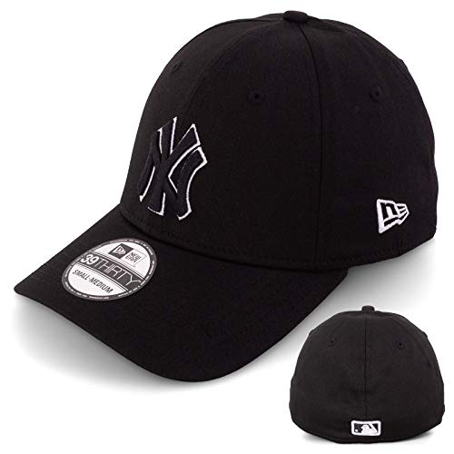 New Era Basecap Baseball Cap Herren Limited Edition MLB Mütze 39THIRTY Stretch Fit New York Yankee, LA Dodgers, Essential Basic (XS/S, Black/White)