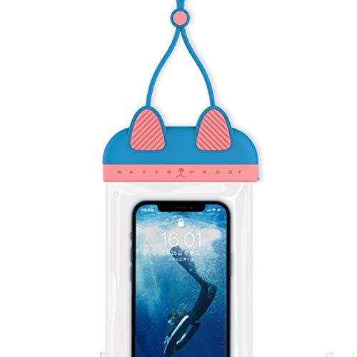 Tianlun Funda Impermeable para teléfono, con Forma de Gato IPX8 Funda Impermeable para teléfono Bolsa Seca Natación Lluvia A Prueba de Polvo con cordón portátil Compatible con iPhone