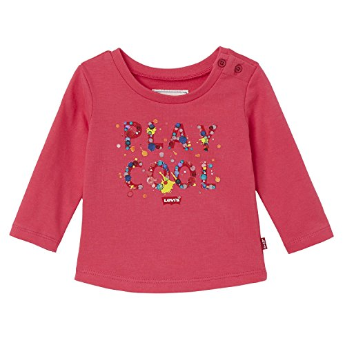 Levi's Kids LS Tee Cool, T-Shirt Bébé Fille, Rose (Bright Rose), 2 Ans (Taille Fabricant: 24M)