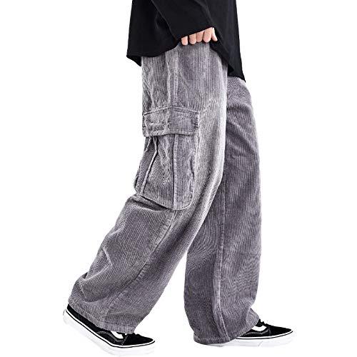 Pantaloni Cargo Multitasche da Uomo a Gamba Larga Moda Streetwear Trend Pantaloni di Velluto a Coste Tinta Unita Casual Pantaloni Rilassati Spessi XL