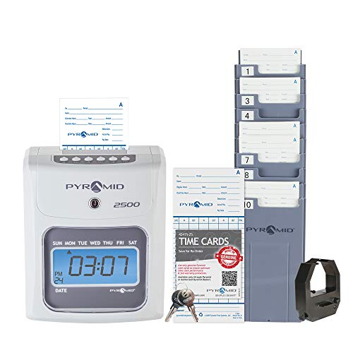 Pyramid Time Systems 2500 Small Business Time Clock Bundle with 100 Time Cards, 1 Ribbon, 1 Time Card Rack, 2 Security Keys - No Employee Limit, ivory
