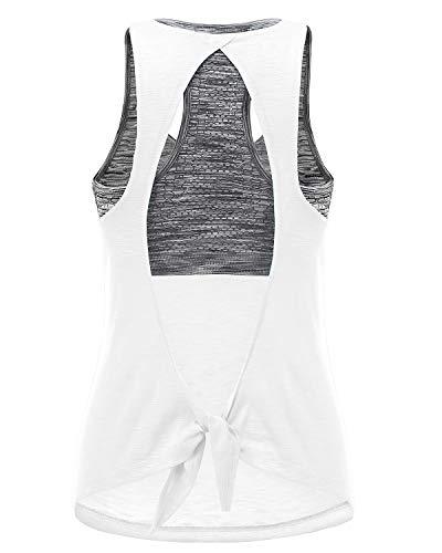 FAFAIR Damen Tanktop Yoga Tank Top sporttop mit Sport BH Sport T-Shirt Fitness Rückenfrei Running Shirt für Fitnesstraining Gym Laufen Shirts White&Gray Bra XXL