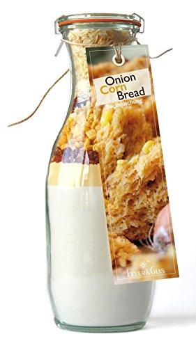Backmischung im Weckglas für Zwiebel-Mais-Brot- Raffinierte Geschenkidee für Backfreunde- Backzutaten für die einfache Zubereitung von Zwiebel-Mais-Brot- Gourmetbackmischung von Feuer & Glas