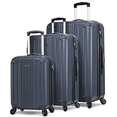 TravelCross Milano Luggage Lightweight Spinner Set (Dark Gray, 3 piece set (20''/ 24''/ 28''))
