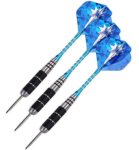 MICHETT Dartpfeile 3 Stück 22g Profi Steeldarts mit Metallspitze Aluminium Schaft für Einsteiger Anfänger und Profis (Blau)