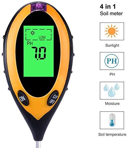 Pkfinrd 4-in-1 digitale pH-monitor voor vloertemperatuur, zonlicht, intensiteitsmeting, zuur met achtergrondverlichting