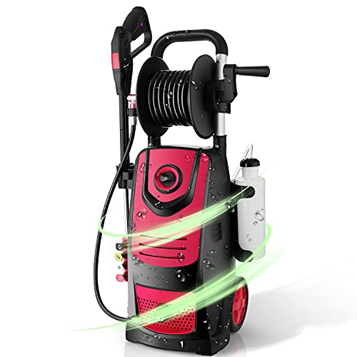 Suyncll Electric Pressure Washer High Power Washer with Reel,3800PSI 2.8GPM Pressure Washer Car Patio Garden Yard Cleaner (Red)