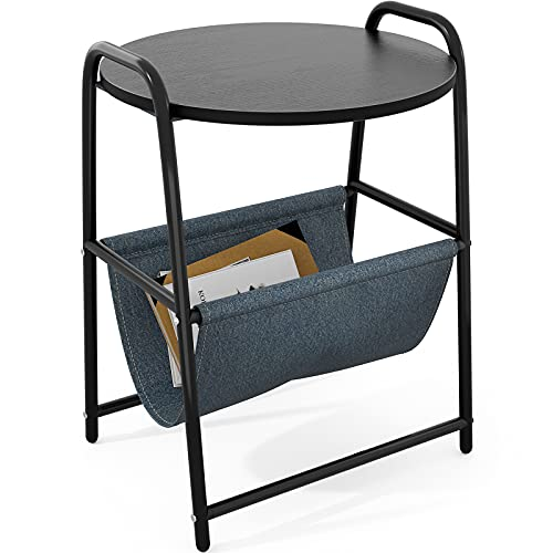 Mesa auxiliar, mesa de café redonda de 2 plazas, mesita de noche, tablero de madera con correa de tela, revistero para sofá, salón, dormitorio y balcón, 45 x 63,5 cm, color negro