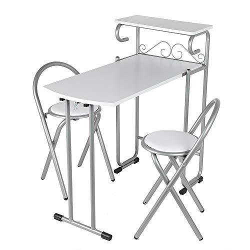 Sillas de mesa de comedor, filete de superficie con acero+tablero DM plegable de almacenamiento (blanco)
