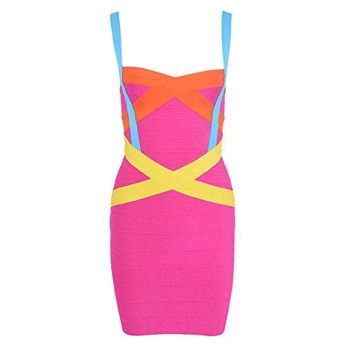 HLBandage Women's Spaghetti Strap Rayon Mini Bodycon Bandage Dress(XS,Patchwork)