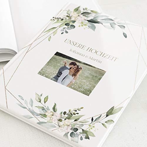 sendmoments Fotobuch zum Selbstgestalten, Hochzeit, Greenery und Gold, personalisiert mit eigenem Bild & Text, Hochformat, 32 leere weiße Seiten oder mehr