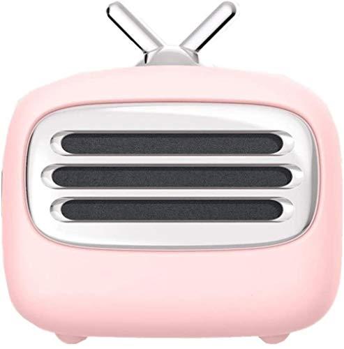 Altavoz Bluetooth retro para televisión, simple, lindo y conveniente, creativo para mesita de noche, altavoz multifuncional inteligente, color rosa