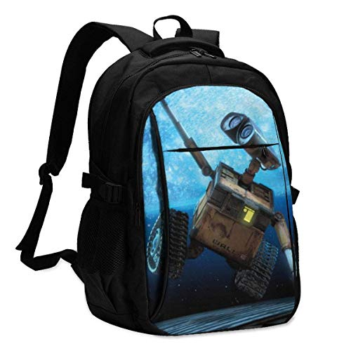 Wall.E Robot Backpack Travel Laptop Backpack with USB Charging Port Headphone Interface College Bookbag for Women Men Boys Business Travel Anti Theft Backpack