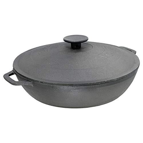 4big.fun Poêle à frire en fonte avec couvercle en fonte Compatible induction Ø 26 cm Hauteur 66 mm