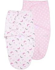 Vicloon Baby Swaddle Wrap, 2 stuks Pasgeboren Swaddle Deken Wrap, Biologische Katoen Baby Deken Wrap voor Baby 0-3 Maanden 7-15 lbs