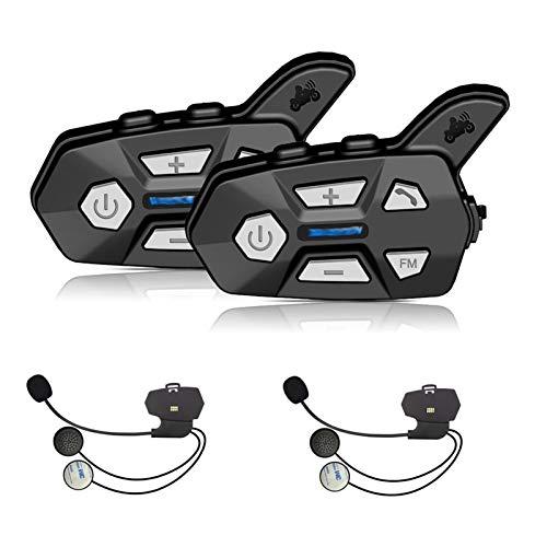 XYBH Xybhjxb Wayxin 2 unids Bluetooth Intercom 2 Rider FM Motorcycle Bluetooth Casco Intercom 1000M Moto Interphone Casco Auriculares Intercomunicadores R5 (Color : IntegratedMicrophone)