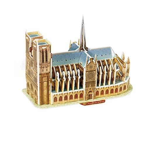 Rompecabezas estéreo 3D Mini-Mundo Modelo arquitectónico Rompecabezas Rompecabezas de Papel para niños Notre Dame de París (Notre Dame de París Multicolor)