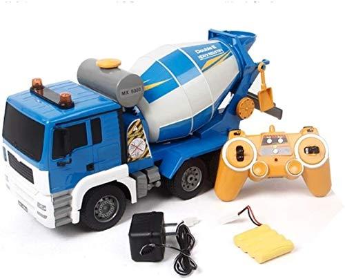 CYLYFFSFC Simulación de camión grande 1/20, camión de demostración automático con control remoto con luces, juguete mezclador de cemento de 2.4G recargable, regalo de coche de juguete de control remot