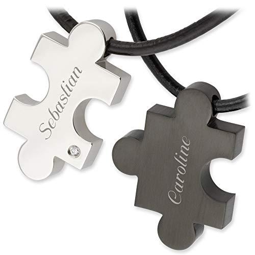 Schmuck-Pur Edelstahl Partner-Anhänger Puzzle mit Lederband 4-teilig mit persönlicher Laser-Gravur