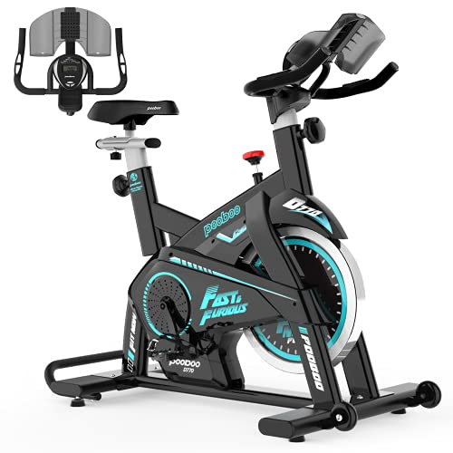Afully Indoor Cycling Bike, Exercise Bikes Magnetic Resistance Stationary Bike, Belt Drive Indoor Bike with Pad/Phone Mount for Home Cardio Workout (Blue)