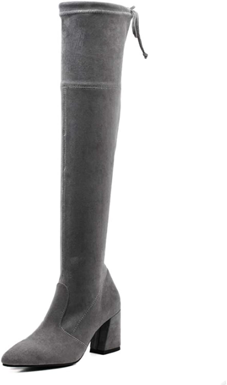 LFF.FF Damen über Den Kniestiefeln Spitz Dicker Dicker High Heel Stretch-Stiefel Wildleder Schnürstiefel Hoher Absatz (6-8CM)  ohne zu zögern! jetzt kaufen!