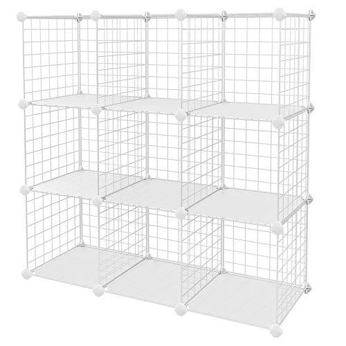 "SONGMICS Metal Wire Cube Storage,9-Cube Shelves Organizer,Stackable Storage Bins, Modular Bookcase, DIY Closet Cabinet Shelf, 36.6""L x 12.2""W x 36.6""H, White"