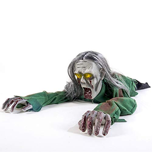 yosager Halloween Scary Yard Decorations, Electric Crawling Ghost Long Hair Horror Voice Skeleton, Creeping Bloody Prop…