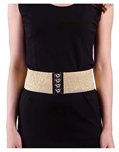 Womens Wide Elastic Waist Belt for Dresses Waistband Trimmer Stretch Cinch Belt