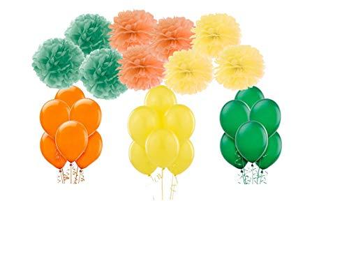 50 Palloncini + 9 fluffi 3 Colori Tema Festa (Arancione - Verde - Giallo Tema Savana)