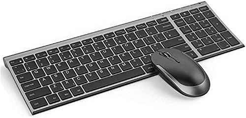 Juego de Teclado y Ratón Inalámbricos Recargables para Windows,  Teclado Español Ultra Delgado y Ratón Silencioso con Receptor USB,  para PC/Portátil/Ordenador,  Negro y Gris