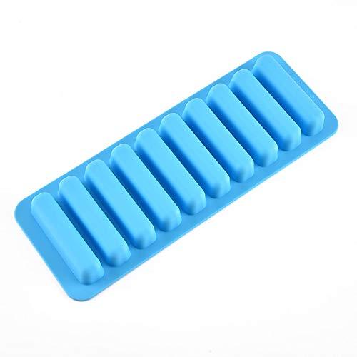 xuyang Molde de silicona de grado alimenticio, 25 x 8,2 cm, forma rectangular, para cubitos de hielo de frutas, 10 bandejas de hielo de celosía, accesorios de cocina (color azul)