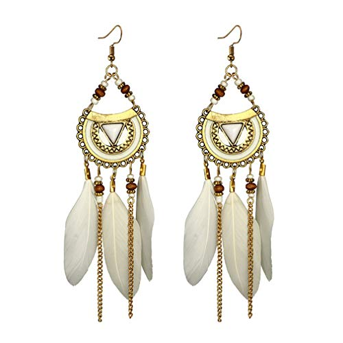 Seaside Vacation Beach Ethnic Exotic Wild Fringed Fairy Long Feather Earrings(White)