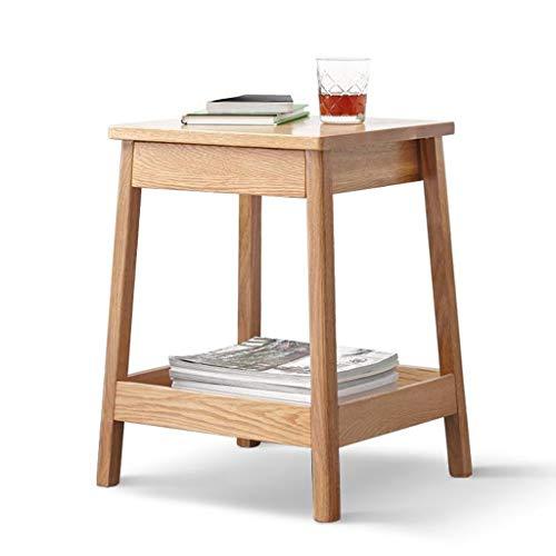 Double Side Table met lade Snack Table Massief Houten Nachtkastje Thuis Simple Living Room bijzettafel