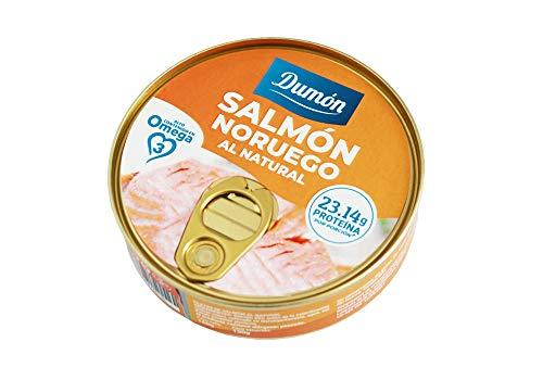 Dumon - 24 Unidades de 160 gr de Conservas de Salmon Noruego Fresco Gourmet Premium listo para comer. Pescado enlatado Sin huesos y Sin Piel. Abre fácil. Rico en proteínas, OMEGA 3, sin gluten.