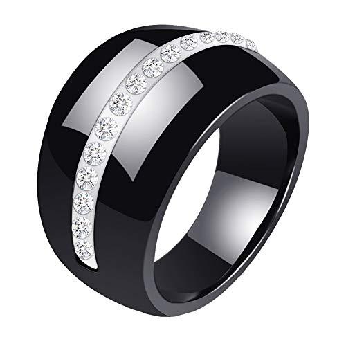 PAURO Large Classique Bague de Mariage Promettre Fiançailles Femme Céramique Micro Zircon Noir et Blanc Taille 60