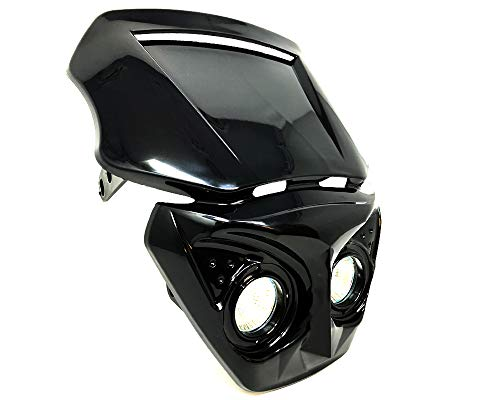 Motorfiets Koplamp voor Streetfighter of Cafe Racer Project - ZWART - 12V/20W
