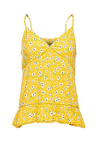 Superdry Damen Summer Trägertop mit Spitze Gelb Blumenmuster 38