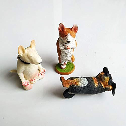 Cavatappi 3D Yoga Cane Magnetico Frigorifero Decorazione 6pcs Vivid Animal Cartoon Decor PVC Divertente Regalo per Frigorifero Lavagna (Colore: A)