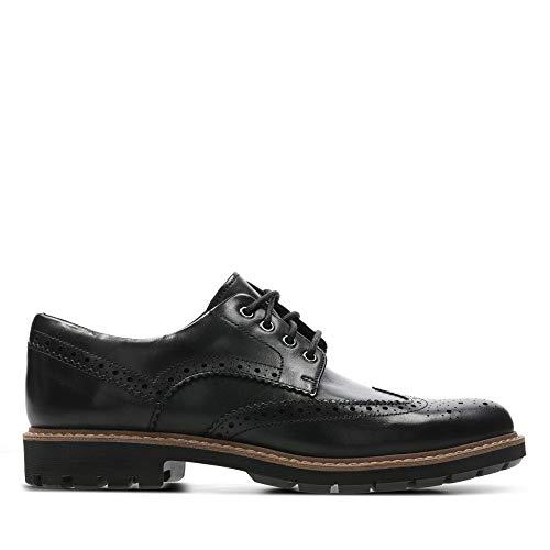 Clarks Herren Batcombe Wing Derbys, Schwarz (Black Leather), 43 EU