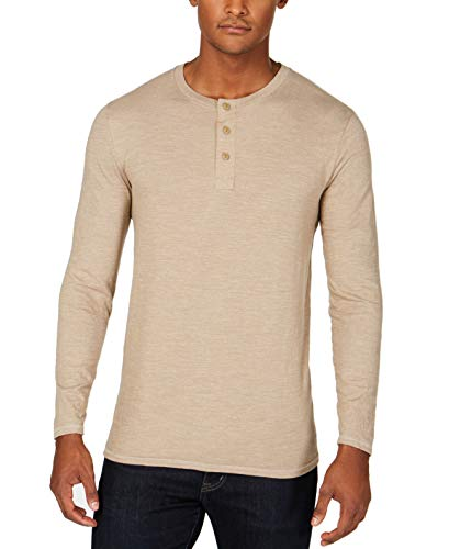 dockers Herren Long Sleeve Henley Textured Sweater Hemd, Camp Sand strukturiert (Legacy), Mittel