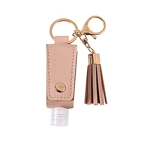 Bote Dispensador de Gel con Llavero y Gancho 30ML (1 Bote Gel Flecos Rosa)