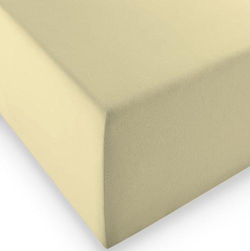 sleepling Komfort Jersey-Elastic Stretch Spannbettuch Spannbettlaken für Matratzen bis 30 cm Höhe (215 gr. / m²) mit 3{eb5f69d7a4ad47a8e60e1c91efb453fce811d0b0f8b0255e86c3795cf6a40ca1} Elastan 180 x 200-200 x 220 cm, beige