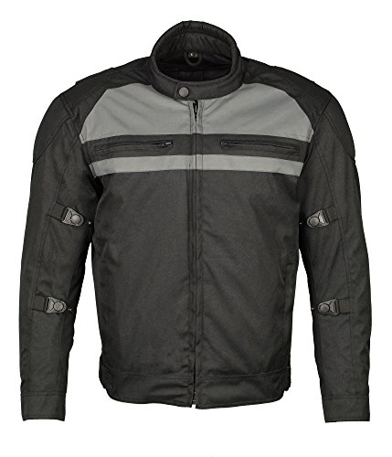 M Boss Motorcycle Apparel BOS11700 Black Mens Nylon Racer Jacket with Reflective Piping - Large