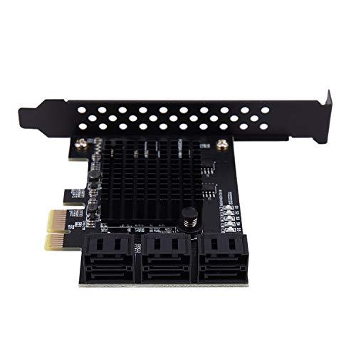 CESUO para Marvell 88Se9215 Chip 6 Puertos Sata 3.0 la Tarjeta de Expansión Pc Express Sata Adaptador Sata 3 con Adaptador de Disipador de Calor para HDD