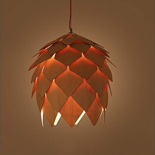 QCSMegy Lámpara LED de techo de cono de pino de luz cálida de madera de Burlywood Chandelier de comedor sala de estudio dormitorio simple tradicional led araña