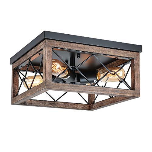Eyassi Flush Mount Ceiling Light, Farmhouse Wooden Close to Ceiling Lighting Fixture Black Ceiling Lamp 4 Lights for Kitchen Island Living Room Bedroom Hallway Laundry Entryway