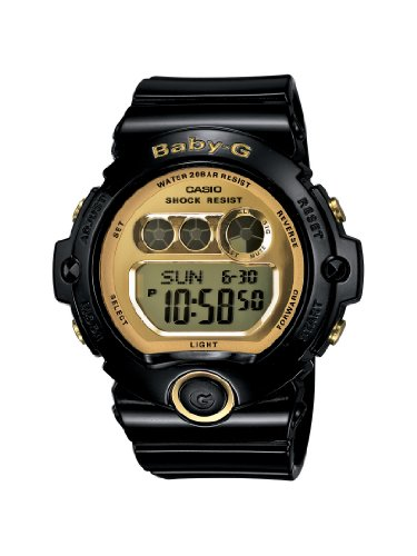 Casio Women's BG6901-1 Baby-G Black Resin and Gold-Tone Accented Large Digital Sport Watch