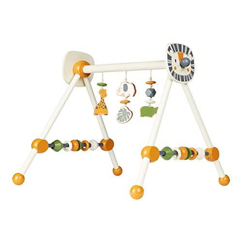 solini Spieltrapez Safari, Spielbogen für Babys, bunte Tiere, Ringe u. Kugeln, aus Holz, Babyspielzeug