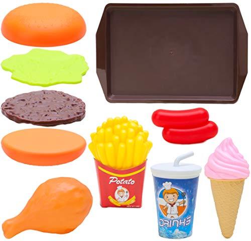 Toyland® 10-częściowy zestaw do zabawy Fast Food - zawiera: 1 taca, 1 napój, 2 kiełbaski, 1 lody kurczaka, 1 sztuka kurczaka, frytki i 1 burger z bułkiem, patty wołowe i ser - udawaj jedzenie dla dzieci